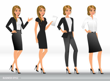 Elegant business women in formal clothes. Base wardrobe, feminine corporate dress code. Women in office clothes.Vector illustration with isolated characters. Illustration