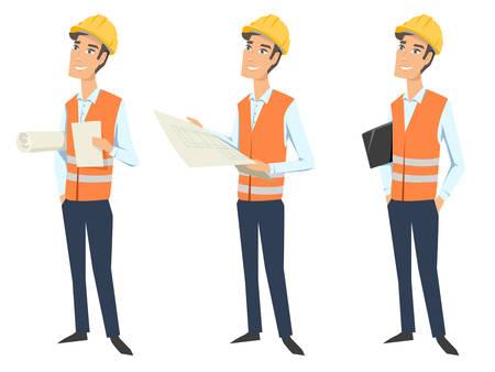 Ensemble de trois personnages complets (architecte, ingénieur ou ouvrier) portant des uniformes de protection (gilet de protection et casques de protection) et regardant un plan, tenant des documents et un dossier. Vecteurs