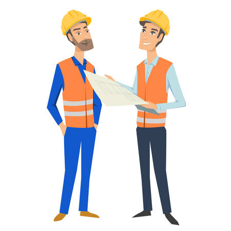 Two full length persons (architect or engineer and foreman or worker) wearing protective uniforms and hardhats, looking at blueprint, holding documents and folder.  イラスト・ベクター素材