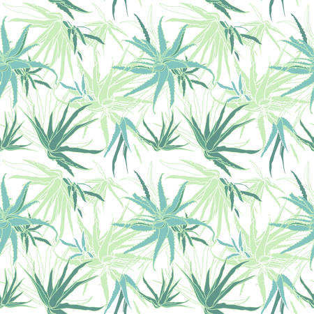 Seamless pattern with aloe vera tropical plant. Vector illustration Illustration