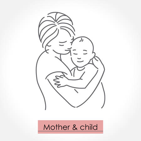 Mother with child. Line art icon, logo, sign. Isolated vector illustration.