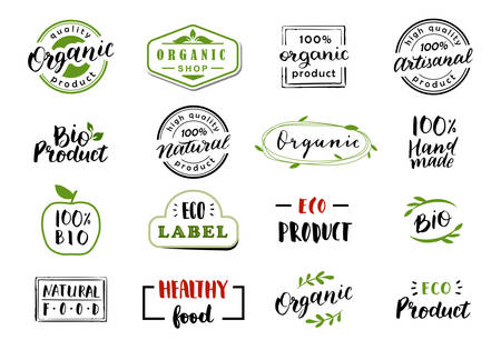 Hand drawn lettering and calligraphy for natural product logos, labels and icons. Collection of organic and bio elements.