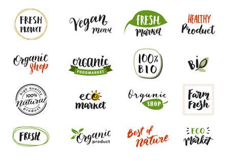 Handgetekende letters en kalligrafie voor logo's, labels en pictogrammen van natuurlijke producten. Verzameling van biologische en bio-elementen.