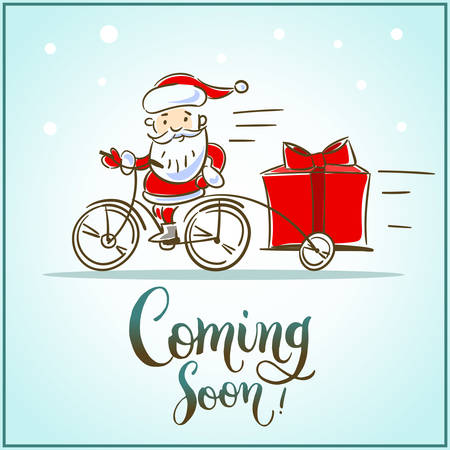 Santa Claus riding a bicycle with gift box is coming soon. Vector illustration isolated. Illustration