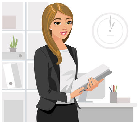 Business  woman holding  files in  office. Vector illustration isolated.
