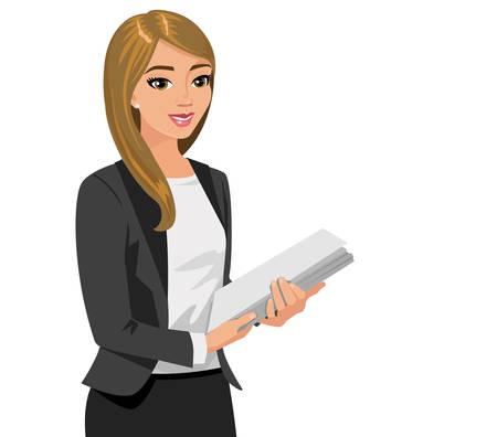 Business  woman holding  files. Vector illustration isolated on white. Illustration
