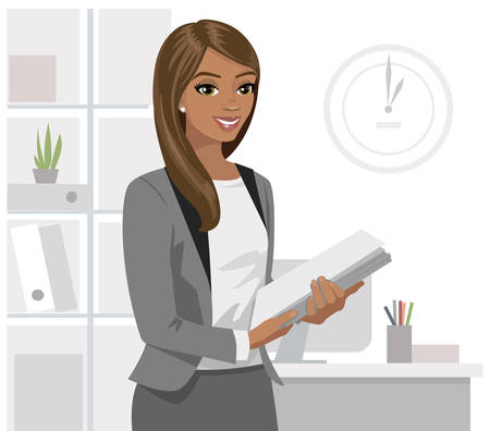 Black business woman holding files in office. Vector illustration.