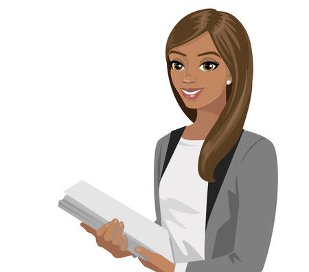 Black business woman holding files. Vector illustration isolated on white. Illustration