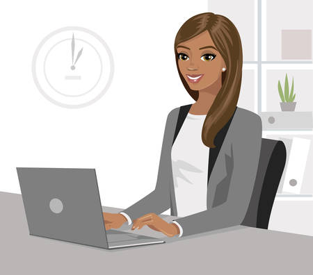 Pretty black businesswoman working on laptop in office. Vector illustration isolated. Illustration