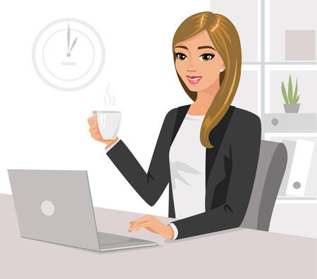 Pretty businesswoman holding cup of tea is working on laptop in office. Vector illustration isolated.