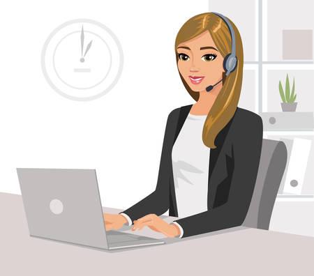 Ładna dziewczyna operatora z zestawu słuchawkowego i laptopa w biurze. Ilustracja wektorowa na białym tle.