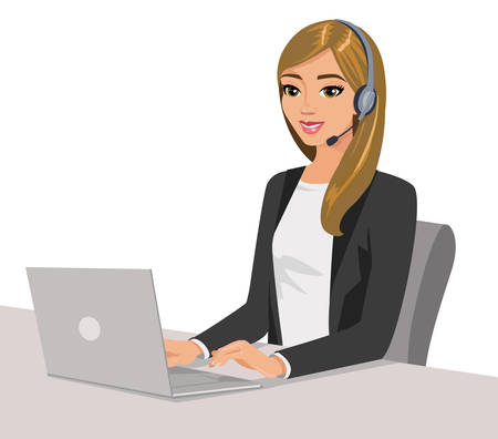 Pretty girl operator with headset and laptop. Vector illustration isolated on white.