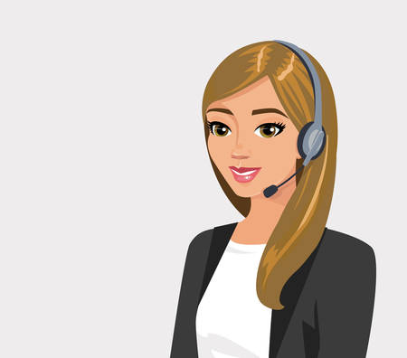 Pretty girl operator with headset. Vector illustration isolated.