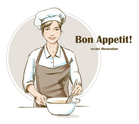 Smiling and happy female chef. Woman chef is cooking. Hand drawn vector illustration. Illustration