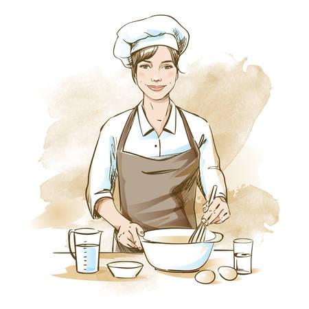 Cuoco unico femminile sorridente e felice. Lo chef donna sta cucinando con la frusta. Illustrazione vettoriale disegnato a mano su sfondo acquerello artistico.