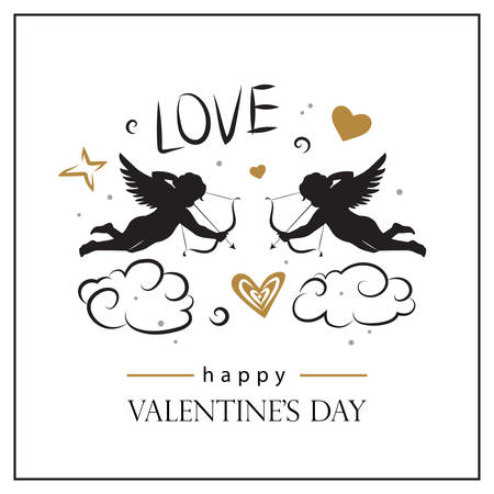 Valentine's day card with cupids. Valentine's day logo, symbol, sign, icon. Illustration