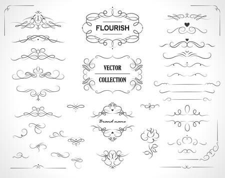 Set di cornici fiorite, bordi, etichette. Raccolta di elementi di design originali. Turbinii di calligrafia vettoriale, ornati, motivi decorati e pergamene.
