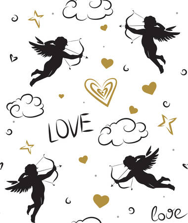 Seamless romantic pattern with cupids. Love symbols, signs, icons. Valentine's day or wedding background. Banque d'images - 123744907