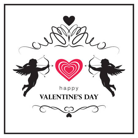 Flourish Valentine's day card with cupids. Valentine's day logo, symbol, sign, icon. Illustration