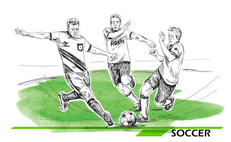Soccer, football players illustration. Vector image isolated on white