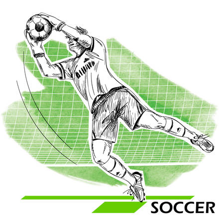 Goalkeeper, soccer, football player. Vector illustration isolated on white. Illustration