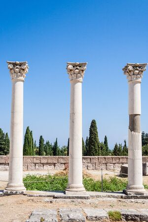 hippocratic: Columns at ancient site of Asclepeion (The Hippocratic school of medicine), Kos island, Greece Stock Photo