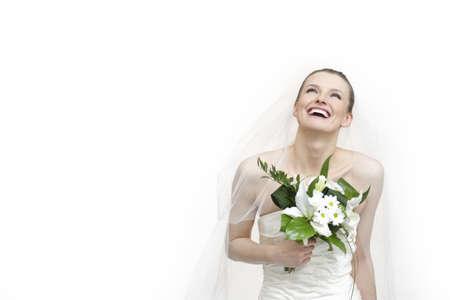 Portrait of beautiful bride  Wedding dress  Wedding decoration and flowers isolated over white background