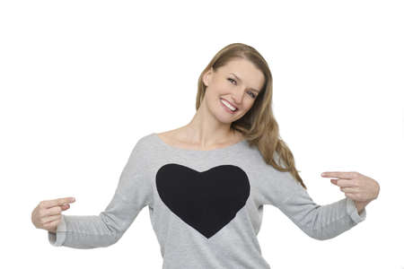 Woman smiling happy portrait  Fresh and beautiful with symbol of heart in casual grey top isolated on white background