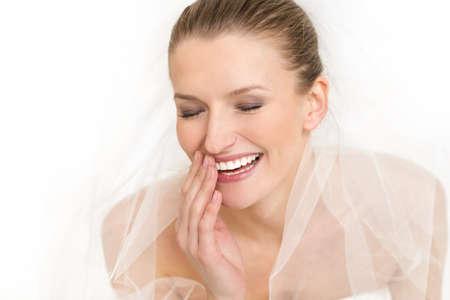 Portrait of beautiful bride  Wedding dress and veil Stock Photo