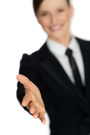 Executive business woman giving handshake isolated on white background - shaking hand