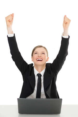 Happy businesswomen with laptop, hands up, on white background