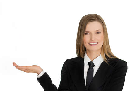 Isolated young business woman presenting with hand