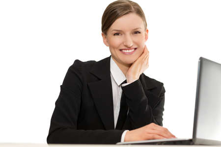 Business smiling worker with laptop photo