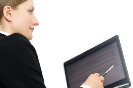 Business woman showing laptop screen ready for text