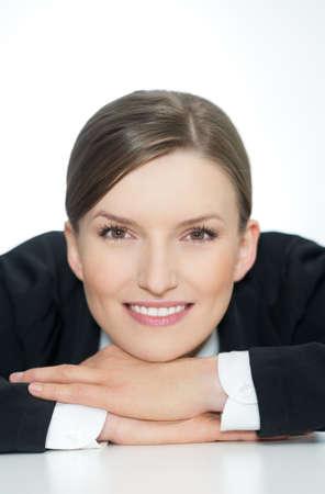 Smart smiling business woman, closeup portrait on white background