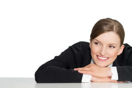 Smart smiling business woman and product promotion, closeup portrait on white background