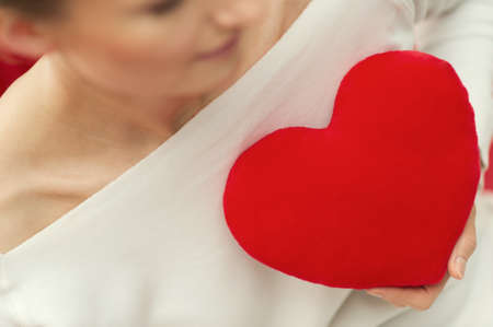 Portrait of woman in love and red heart - Valentine Day