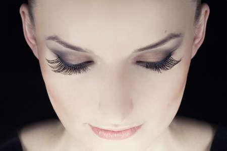 Woman eyes with long eyelashes