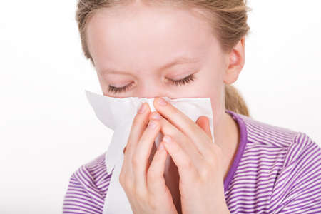 Tissue - illness, runny nose and blowing nose photo