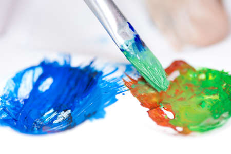 Paint brush stroke and palette Stock Photo