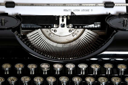 An old typewriter with the text Whats your story - so how is your story?