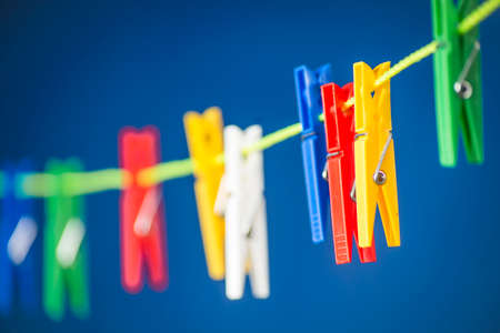 Clothes peg clips for clothes on the line. Washing or washing the concept of the image.