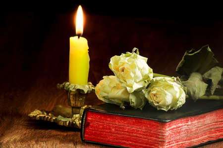 Old book, withered roses, burning candle in a candlestick Archivio Fotografico