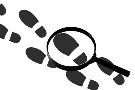 Magnifying glass on the background of footprints, isolated on a white background