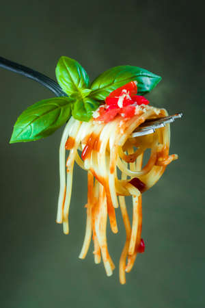 Fresh spaghetti pasta on a fork photographed close up Stockfoto