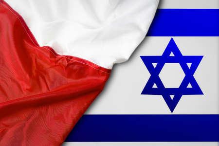 Israel and Poland. Polish flag on the background of the Israeli flag