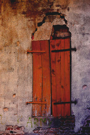 Old grungy locked wooden doors close Stock Photo - 5065082