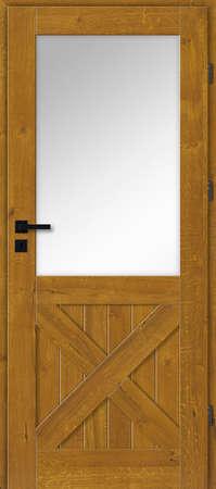 Interior doors, wooden, glazed, oak with knots - golden oak