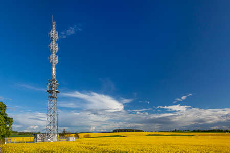 Radio tower on a field of yellow colza with a blue sky background. Imagens