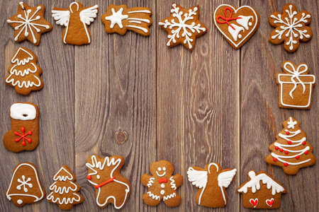 Christmas - background with gingerbread cookies and place for text